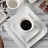 Vancasso, Gitana 18-teilig Kaffeeservice aus Weißem Porzellan, Kaffeeset für 6 Personen, Beinhaltet Kaffeetassen, Untertassen, Dessertteller - 6
