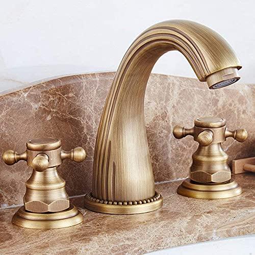 Grifo mezclador de lavabo retro de 3 agujeros, grifo mezclador para lavabo de baño, grifo de latón para baño, grifo para baño, comodidad, altura 11 cm