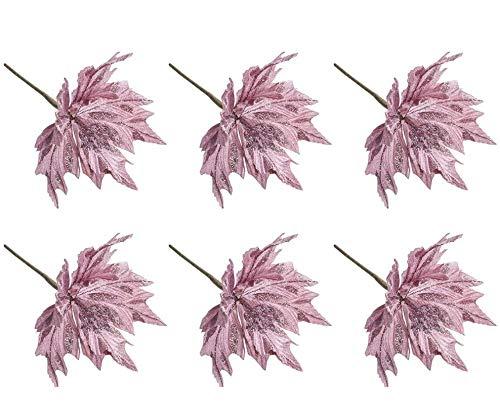 Takefuns 6 hojas artificiales de Navidad con purpurina, hojas de arce, crepé de hojas de arce, flores decorativas de simulación para árbol de Navidad, suministros de oficina, Rosa, 6 unidades