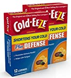 Cold-EEZE Plus Defense Cold-Shortening Lozenges, 12 Count, Cold Remedy, Citrus with Elderberry Flavor, Pharmacist Recommended - Twin Pack