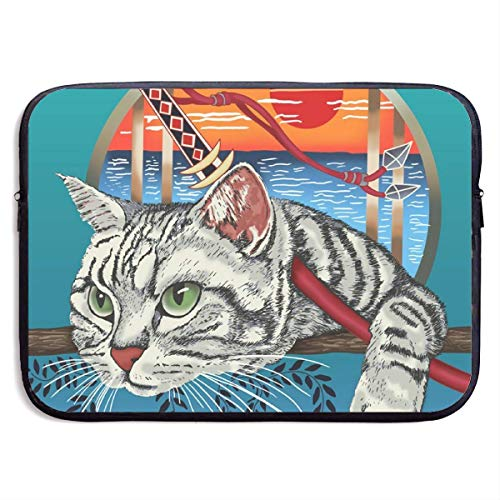 Sharp Shirter Ninja Cat 13-15 Inch Laptop Sleeve Bag - Tablet Clutch Carrying Case,Water Resistant, Black-13 Inch