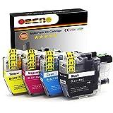 OBENO - 1 Set - LC3211 LC3213 Paquete de 4 Cartuchos de Tinta Compatibles para Brother LC3211 MFC-J890DW, MFC-J895DW, DCP-J772DW, DCP-J774DW, DCP-J572DW (1 Negro, 1 Cian, 1 Magenta, 1 Amarillo)