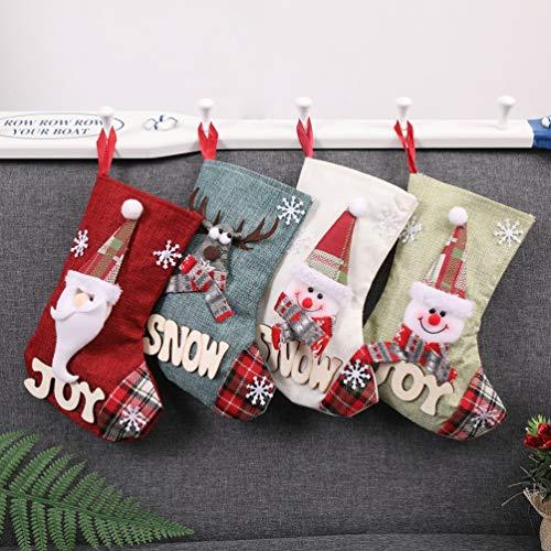 topweudkn Set da 4 Camino Calza di Natale, 23cm Babbo Natale Pupazzo di Neve e Elk Calze Natalizie da Appendere Candy Sacchetti Regalo per Albero di Natale Festa di Natale Decorazioni