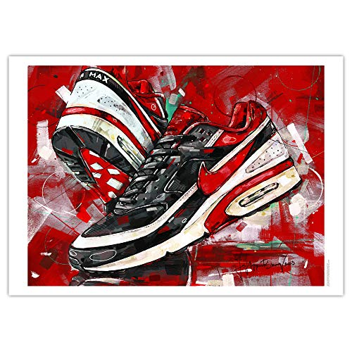 Nike Air Max Classic BW Varsity Red Art Print 01 (50 x 70 cm), sin marco