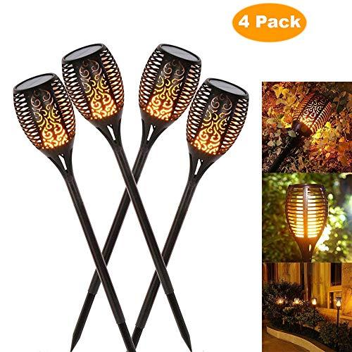 luces jardin solares exterior, luces decorativas, luz de la antorcha del LED, luz del camino del jardín, efecto de llama que oscilan realista, prenda impermeable IP65 (4 pack)