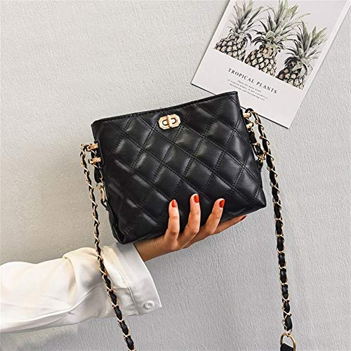 T-ara The New Diamond Lattice PU Leather Crossbody Bags For Women Luxury Chain Shoulder Bag Distaff Bucket bags Essential for hiking (Color : Black, Size : 20x8x16cm)