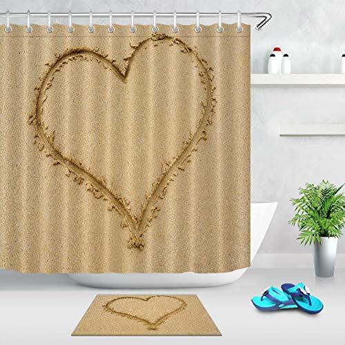 hdrjdrt Duschvorhang-Set aus Stoff, Herzmotiv, Sandfarben, Badezimmervorhänge, Matte, Teppich, Duschvorhang-Set, Duschvorhang-Größe: 180 x 180 cm, Badematte ist weniger als 60 x 40 cm