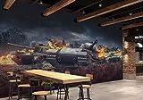 Dxbh Panzer Hobby Fototapete Papel De Parede 3D Kunst Tapete Restaurant Sofa Hintergrund 3D Wandbild Tapetenrolle