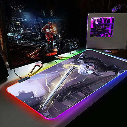 RGB Gaming Mauspad XL Nier Automata Gamer Laptop Lager Mausmatte rutschfeste PC Tischmatte Genähte Kante 800X300X3Mm