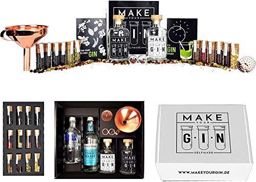 Make Your Gin Geschenkset Geschenkbox Gin zum Selbermachen - Absolut Vodka, Fever-Tree Mediterranean Tonic Water 500ml + Botanicals + Bar Trichter + Anleitung mit Rezept