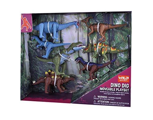 Wild Republic Movable Action Playset, Dinosaurier, acht Arten lustiger Dinosaurier Nachbildungen, Actionfiguren zum Sammeln, Interaktive Geschenke für Kinder, Kuchendeko zum Geburtstag