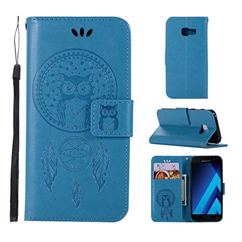LMAZWUFULM Hülle für Samsung Galaxy Xcover 4 / SM-G390F (5,0 Zoll) PU Leder Magnet Brieftasche Lederhülle Eule & Traumfänger Muster Standfunktion Ledertasche Flip Cover für Galaxy Xcover 4 Blau