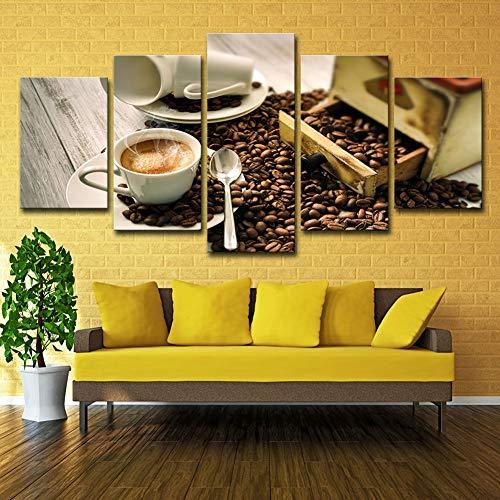 JSIHENA Leinwandbild Wandbild Kunstdruck Bild 5 Stücke Kaffeetasse Und Kaffeebohnen Dekorative Gemälde Für Wohnzimmer Küche Weihnachten Rahmenlos,8 * 12 * 2+8 * 16 * 2+8 * 20in