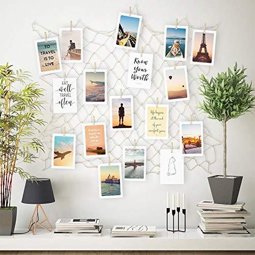 ecooe Foto hängende Wanddekoration Collage DIY Bilderrahmen Wanddekoration, Größe S Fischernetz mit 40 Holzklammern und 10 spurlosen Nägeln Fotoaufhängung 60 * 60cm(wenn komplett auseinandergezogen)