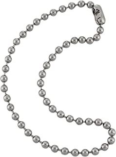6.3mm Large Silver Steel Ball Chain Mens Necklace with Extra Durable Color Protect Finish
