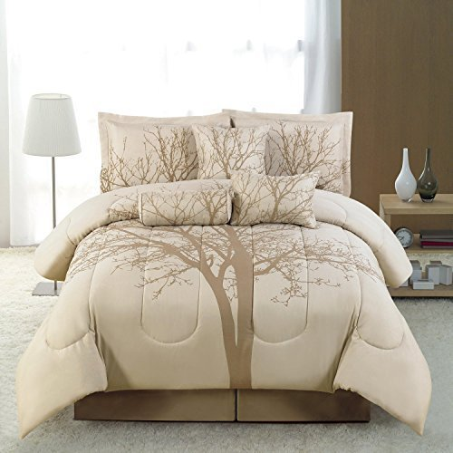 5 PC Luxury bed in a bag, Brown / Dark Beige WINTER TREE Comforter Sset - TWIN SIZE Bedding