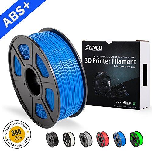 SUNLU Filamentos de ABS para Impresora 3D-SUNLU Filamento de ABS azul 1.75 mm, Precisión dimensional de olor bajo +/- 0.02 mm Filamento de impresión 3D, 2.2 LBS (1KG), Azul