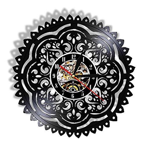 TANCEQI Reloj de Pared de Vinilo Placa Reloj Upcycling 3D Matemáticas Ciencias Diseño de Reloj de Pared de decoración Vintage de Reloj de Pared Decoración,C