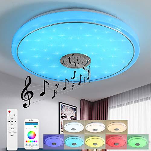 Style home 24W Bluetooth Deckenleuchte LED RGB Deckenlampe, Farbwechsel dimmbar mit Fernbedienung & APP, moderne Leuchte für Wohnzimmer Kinderzimmer Schlafzimmer (40 x 6 cm)