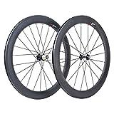 VCYCLE 60mm Fibre de Carbone Vélo de Course Route Roues 700C Clincher Pneu Largeur 23mm Shimano ou Sram 8/9/10/11 Vitesse