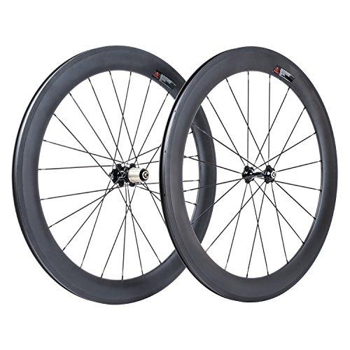 VCYCLE 700C Rennrad Kohlefaser Rollen 60mm Drahtreifen 23mm Breite Sram oder Shimano 8/9/10/11 Speed (Vorder&Hinterrad)
