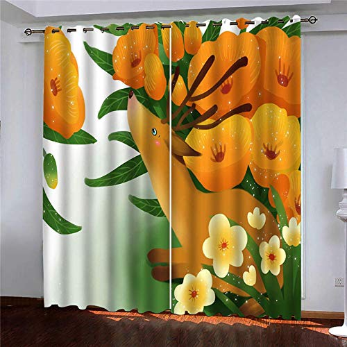 CLYDX Kids Blackout Curtains for Bedroom 3D Printed Thermal Insulated Curtains Eyelet Blackout Curtains for Bedroom 2 * W43 x L84 - Flower Cartoon