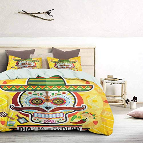 UNOSEKS LANZON - Juego de funda de edredón con diseño de calavera de azúcar mexicana con tacos y chile y pimienta, 2 de noviembre, colorido diseño artístico y funda de edredón para cama king size