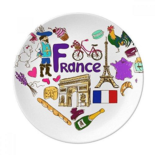DIYthinker France Amour Coeur Landscap Drapeau National décoratif en Porcelaine Assiette à Dessert 8 Pouces Dîner Accueil Cadeau 21cm diamètre Multicolor