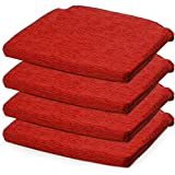 BCASE, Packung mit 4 Fantasy Foam Sitz- & Stuhlkissen, 40 x 40 cm, abnehmbar mit Reißverschluss, für Küche, Schlafzimmer, Wohnzimmer, Garten, usw. Rot
