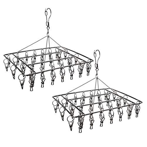 Soporte de secado de calcetines de acero inoxidable con 36 clips duradero para la colada con gancho giratorio de 360° a prueba de viento para calcetines, ropa interior, toallas (2 unidades)