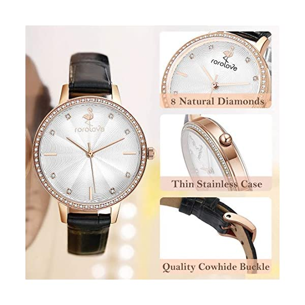 rorolove Watches for Women 8 Diamonds Ladies Wrist Watches Leather Buckle Band 32mm Plate Daily Luxury Style Fashion Jewelry for Women