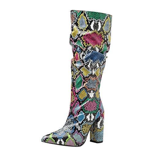 Country Stiefel Schokolade Stiefel Frauen Bunte Schlange High Heel Dicker Stiefel Spitze Reißverschluss Schuhe Slouch Stiefel (39,1Mehrfarbig)