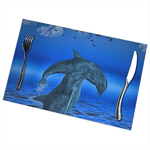 Hao-shop hittebestendige placemats set van 6 eettafel placemats Dolphin placemats antislip wasbaar