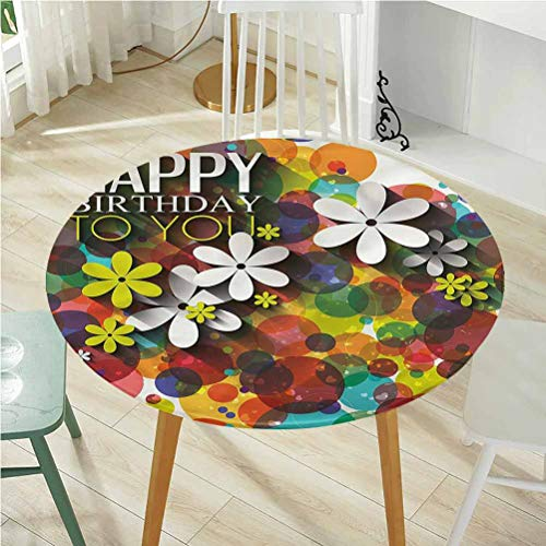 Round Tablecloth Diameter -60 Inch(Elastic Edge) Coffee Table Tablecloth,Birthday,Daisies Dots Best Wish