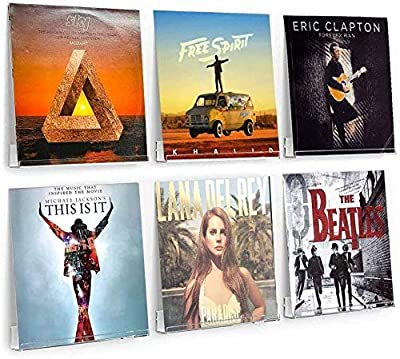 AIFUSI Pack of 6 Vinyl Record Stands, Transparent Acrylic Holder, Design Suitable for 12 Inch LPs LP Storage Case