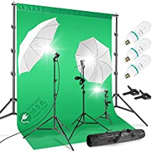 LimoStudio 700W Umbrella Lighting Kit with 10 x 20 ft. Chromakey Green Screen Background and 10 ft. Wide Backdrop Stand Support System with Clamps and Carry Bag, AGG408