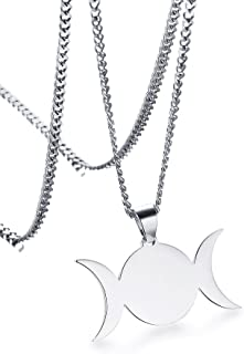Stainless Steel Wiccan Triple Moon Goddess Symbol Pendant Necklace Jewelry for Men Women,24