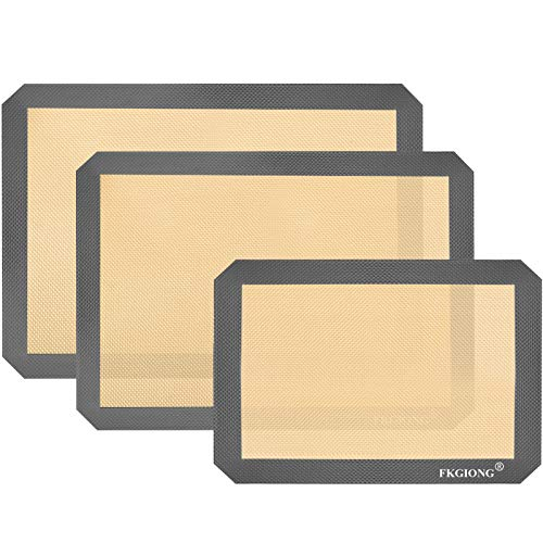 Silicone Baking Mats - Nonstick Large Baking Mat Set of 3-2 Half Sheets Mats (11 5/8' x 16 1/2') + 1 Quarter Sheets - Extra Thick Reusable Bakeware Mats for Cookies, Pastry, Bread, Bun, Fondant