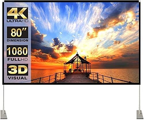 Projektion Leinwand mit Stand 80 Zoll HD 4K Outdoor Indoor Projector Screen Schnelles Falten Tragbare Filmleinwand 16: 9 Full-Set-Tasche für Heimkino, Camping und...