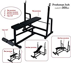 Produman Weight Lifting Multi Purpose Adjustable Multi Bench 4 in 1 Home Gym Bench (Incline + Decline + Flat + Sit Up Bench)