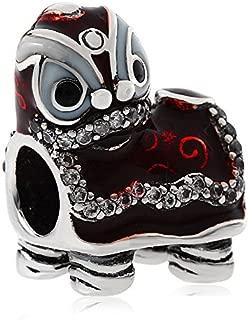 Red Lion Dance Charm 925 Sterling Silver Lion Dance Beads Charm Fit European Bracelet