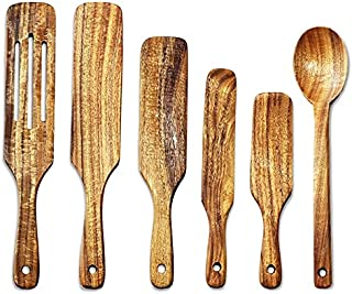KU Syang Natural Teak Wooden Kitchen Utensils Set Wooden Spoons with Hanging Hole for Stirring and Mixing 6 Pcs