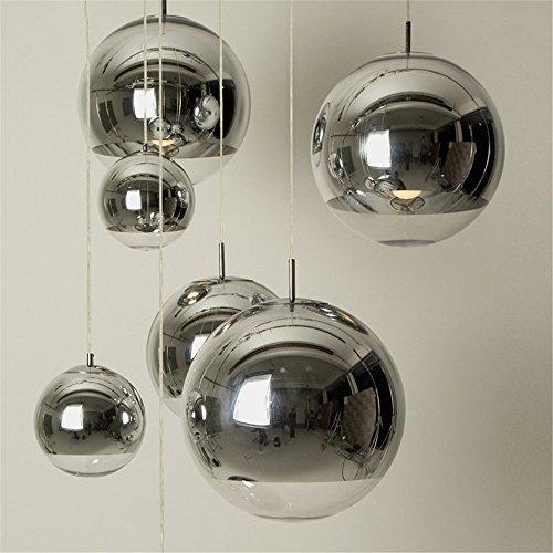 Pendelleuchten,Nordic moderne Coffee Shop Single Head Mirror Ball Platz Galvanik Kugel Glas Leuchter Dekoration,Silber 25 Cm