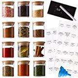 Stylvio 12 4oz Glass Spice Jars with Airtight Natural Bamboo Lids Set, 12 Seasoning Jars with 95 Pre-printed Minimalistict Labels + 12 Black Chalkboard Labels and Erasable Liquid Chalk Pen, Glass Jars with Bamboo Lids and Labels