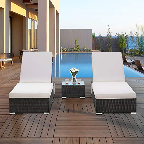 RICHSEAT Outdoor Wicker Reclining Lounge Chairs Patio Rattan Double Chaise Lounge Sunbathing Chairs Beach Pool Backrest Recliners with Cushions and Table