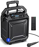 BOMAKER PA System Portable, 600W Peak Power, 8' Woofer Bluetooth Karaoke Speaker, 8 EQ/ECHO, Rich Bass/Treble, Rechargeable Amplified with Microphone/AUX/FM/USB/Wheels/Telescopic Handle Outdoor Indoor