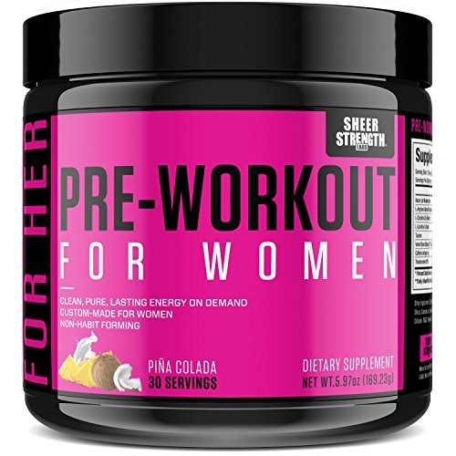 Premium Pre Workout for Women (v1) - Sustained Energy and Healthy Weight Loss - Nitric Oxide Booster Powder Supplement with L Arginine - Sheer Strength Labs, 30 Servings - Packaging May Vary