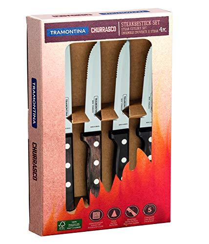 Tramontina Gaucho Juego de 6 Cuchillos de Carne, Acero Inoxidable AISI 420, Madera auténtica