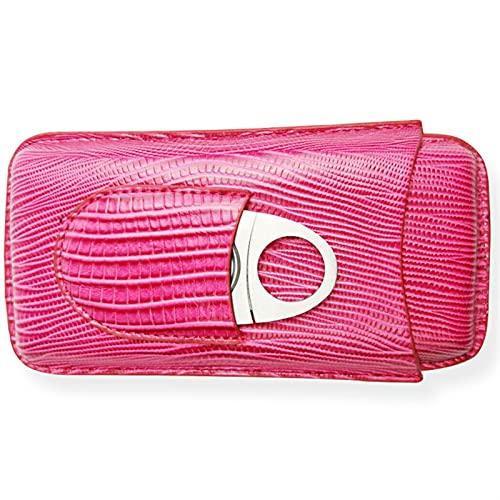 liuchenmaoyi Caves à cigares Casse à cigares Portables, 3 Tubes PCS Crocodile Motif Poche en Cuir Pochette Fumer Accessoires Porte-Cigare (Color : Pink)