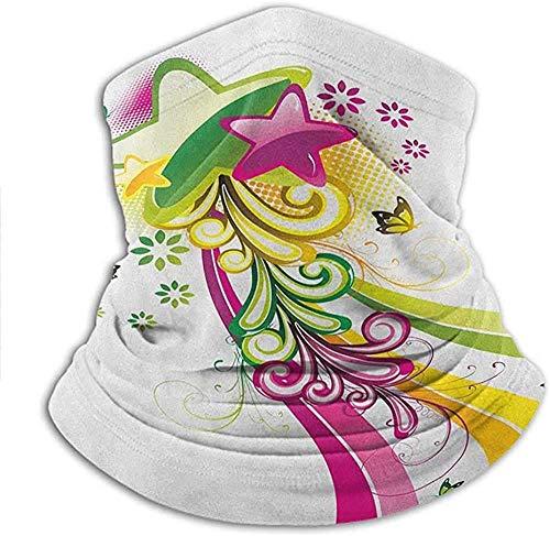 Headwear - Pañuelos con diseño de estrellas de tiro de colores vibrantes con mariposas y remolinos con cuello espacial floral, ideal para exteriores y zonas de polvo, 25,4 x 28,5 cm
